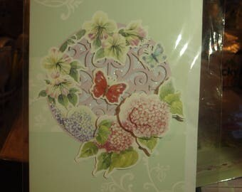 Handmade Card with a Butterfly and Flowers