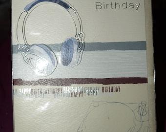 Happy Birthday Card with Head Phones on