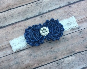 Denim Headband - Shabby flower headband - Denim and ivory headband - headband - Lace headband - Baby girl headband - Ivory - Country baby