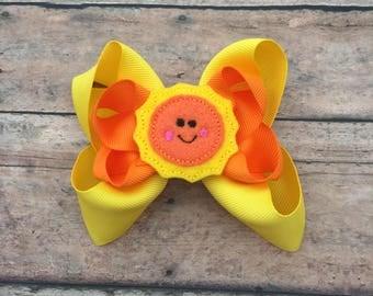 Sunshine Bow - Sunshine Hair Bow - Sunshine - Sun - Sun Bow - Summer Bow - Sun Hair Bow - Baby Bow - Boutique Bow - Summer Hair Bow - Orange