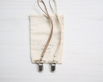 Bundle - Faux Suede Braided Pacifier Clips