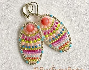 Hoop earrings- Beaded Hoop earrings- Brick stitched Hoop Earrings-  Multi-Colored Earrings- Dangle Drop Earrings- free US shipping