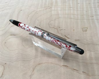 Handmade stylus twist pen in red and white acrylic by Specialty Turned Designs