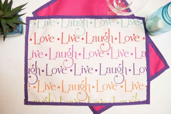 "Indoor / Outdoor Handmade ""Live, Laugh, Love"" Placemat Set"