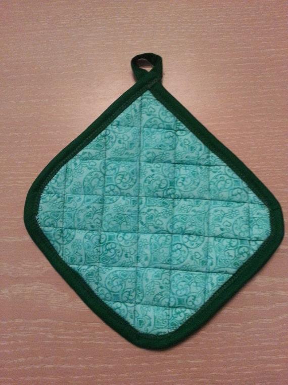 "Handmade "" Green Paisley-Heart Print"" Potholder"