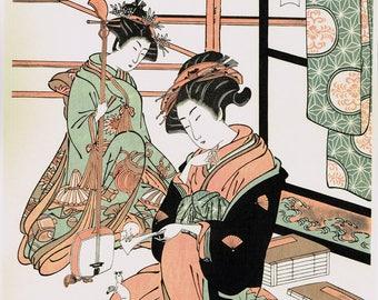 """Japanese Ukiyo-e Woodblock print, Kiyomitsu, """"Ade-Sugata Shichifukujin"""""""