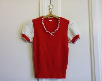 Top vintage red and white mesh size s retro