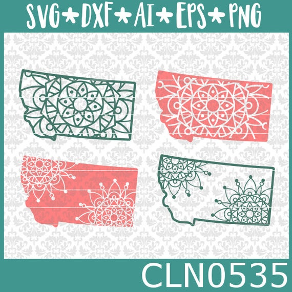 CLN0535 Montana State Mandala Set Intricate lace Zentangle SVG DXF Ai Eps PNG Vector Instant Download Commercial Cut File Cricut Silhouette