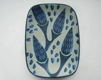Rare Denmark Dish Soholm Art Pottery Blue Lupin Flowers Leaves Einar Johansen Danish Modern Wedding Anniversary Birthday Gift