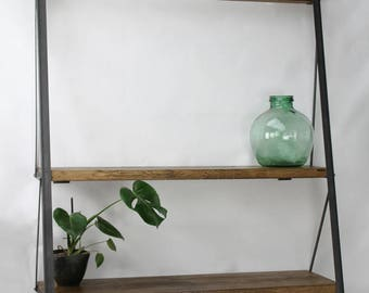 KONK! Industrial Ladder Bookcase, Oak/Steel, shelving, bookshelf, shelf, shelves  [Bespoke sizes!]