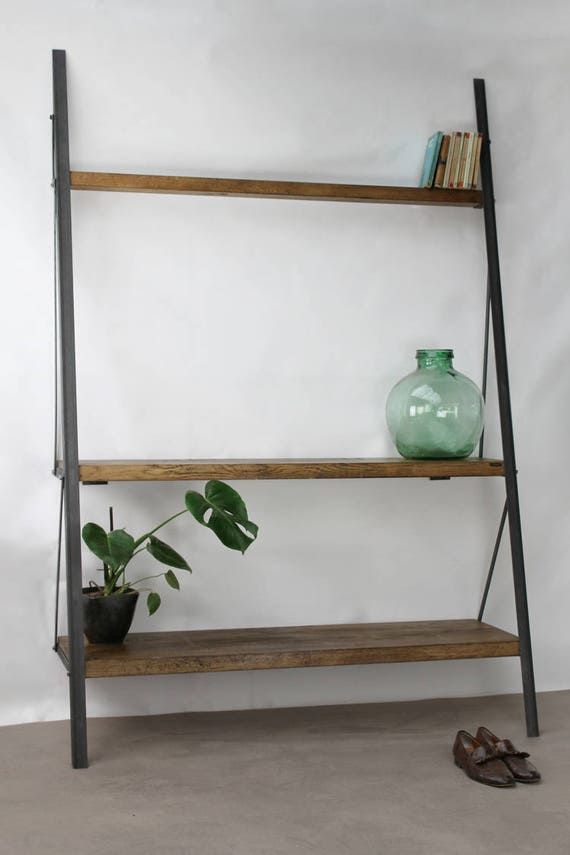 commercial metal shelving konk industrial ladder bookcase oak steel shelving 13753