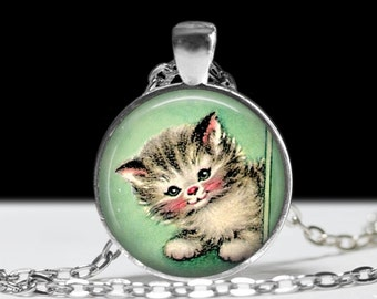 Cat Necklace Cat Jewelry Necklace Wearable Art Pendant Charm Cat Pendant Retro Cat Necklace Cat Photo Pendant