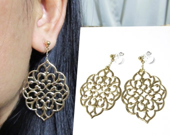 Lace Filigree bridal wedding clip-on earrings |8E| Large Statement Leaf Dangle Bridesmaid Gold Clip On Earrings Non Pierced Earrings