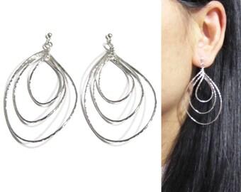 Teardrop Pear shaped Dangle clip on earrings |24B| Tiered Hoop Clip on Earrings Big Bold Statement Clip on Earrings, Invisible Long Clip-ons
