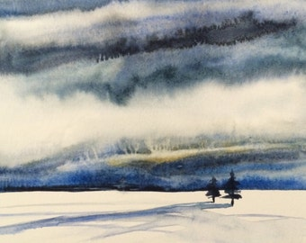 Cloud painting, Snow painting, Winter landscape, Winter painting, Snowscape, snow, Wilderness, Stormy skies, storm clouds