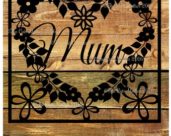 Mum - floral card template for paper cutting - Personal And Commercial Use PDF