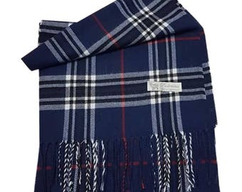 Men Stunning Check Style Luxury Feel Simply Soft Scarf (Navy)