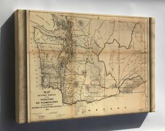 Canvas 24x36; Map Of Washington State 1866