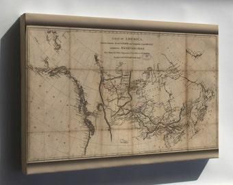Canvas 24x36; Map Alexander Mackenzie Route North America 1801