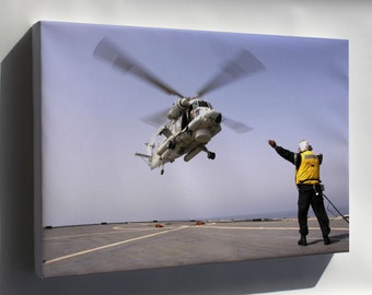Canvas 24x36; Sh-3G Sea King Helicopter Refuels Uss Bagley (Ff 1069)
