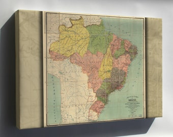 Canvas 24x36; Map Of Brazil 1912