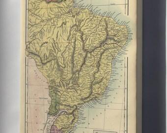 Canvas 24x36; Map Of Brazil, Uruguay, Paraguay & Guayana. 1873