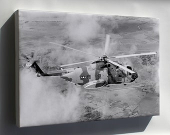 Canvas 24x36; Ch-3C Jolly Green Giant Helicopter Over Vietnam