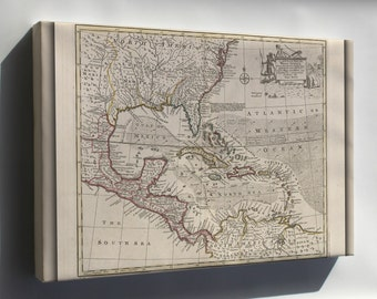 Canvas 16x24; Map Of The West Indies Cuba Florida Mexico 1752