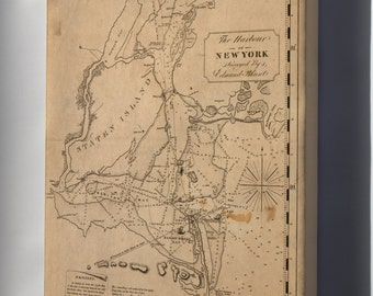 Canvas 16x24; Map Of Harbour Of New York City 1827