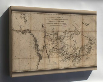 Canvas 16x24; Map Alexander Mackenzie Route North America 1801
