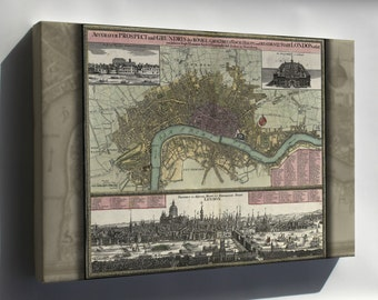 Canvas 16x24; Map Of London In German 1740