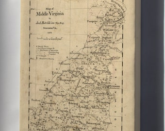 Canvas 16x24; Map Of Middle Virginia 1873