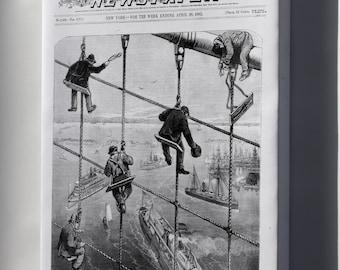 Canvas 16x24; Building The Brooklyn Bridge