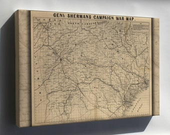 Canvas 16x24; General Shermans Civil War Campaign Map 1864