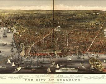16x24 Poster; Birdseye View Map Of Brooklyn New York City 1879