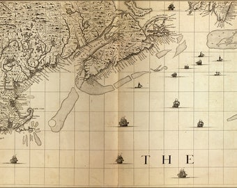 16x24 Poster; Map Of New England, Nova Scotia 1733