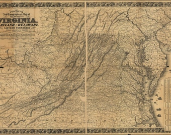 16x24 Poster; Topography Map Virginia Maryland Delaware 1862