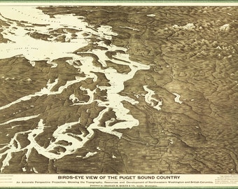 16x24 Poster; Map Of Puget Sound Country Washington State 1891