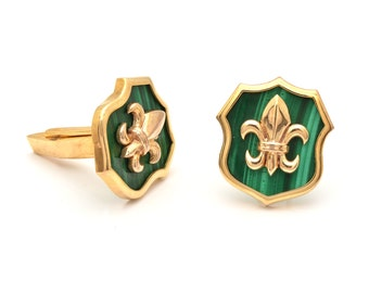 Green Malachite Cufflinks - Green Cufflinks - 925 Sterling Silver Cufflinks - Mans Silver Jewelry - Mens Silver Cufflinks