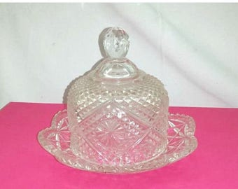 Crystal Domed Butter Dish,Avon Butter Dish, Dome Butter Dish,Round Glass Butter Dish,Fostoria,Crystal Cut Glass,Butter Dish,Avon Collectible