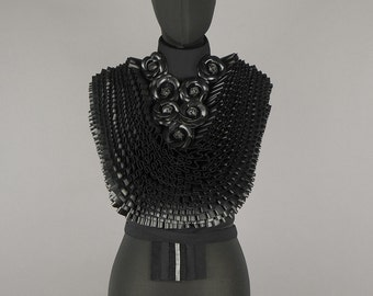 Opulent haute couture ruffle collar in black with artificial leather roses - Handmade in Germany