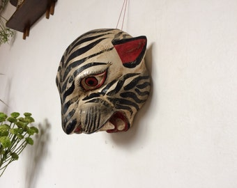 White tiger mask of wood. Mexican vintage.