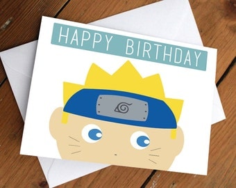 "NARUTO - ""Happy Birthday"" card // naruto, anime, sasuke // birthday, greeting card, cute, thank you card"
