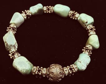 Turquoise & Bali Silver Bracelet