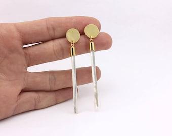 Minimalist Earrings, Mother of Pearl Bar Earrings, Handmade Jewelry by Detail London.