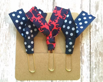 """Lilly Pulitzer """"Tusk in Sun"""" and Navy Polka Dot Ribbon Paper Clips - Set of Three - Great for Planners, Notebooks, Bookmarks & More!"""