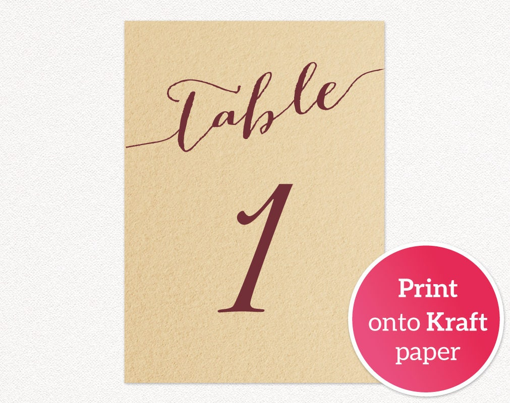 150 Table Numbers Printable Template In TWO Sizes Wedding Table