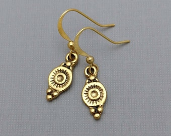Teardrop Earrings, Golden Drop Charms, Moroccan Inspired Jewelry, Gold-Fiilled Wires, Hypoallergenic Earrnigs