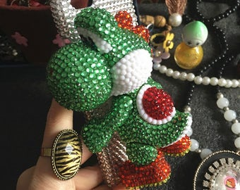 New Bling Lovely Stand 3D Dinosaur Sparkles Luxury Charms Green Gems Crystals Rhinestones Diamonds Fashion Hard Cover Case for Mobile Phones