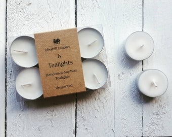 Handmade Soy Wax Tealights - Pack of 6 - Unscented - small - standard - Handmade candles - 6 pack - unscented - natural wax tealights